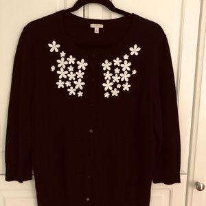 Talbot's black cardigan floral detailing  sz Xl